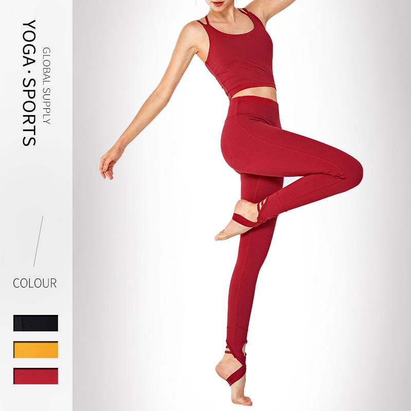 Yoga Set Frauen Fitness Kleidung Sport Wear Frau Gym Leggings Padded Push-up Riemchen Sport-BH zurück Cross 2 Stück Sport-Klagen