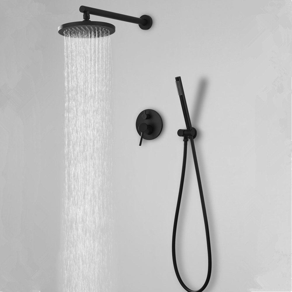 """Casa de Banho Matt Black Rose Chuva cair torneira de bronze Diverter Mixer Tap Set à mão 8-16"""" Cabeça de chuveiro de parede Braço sistema de válvula Kit"""