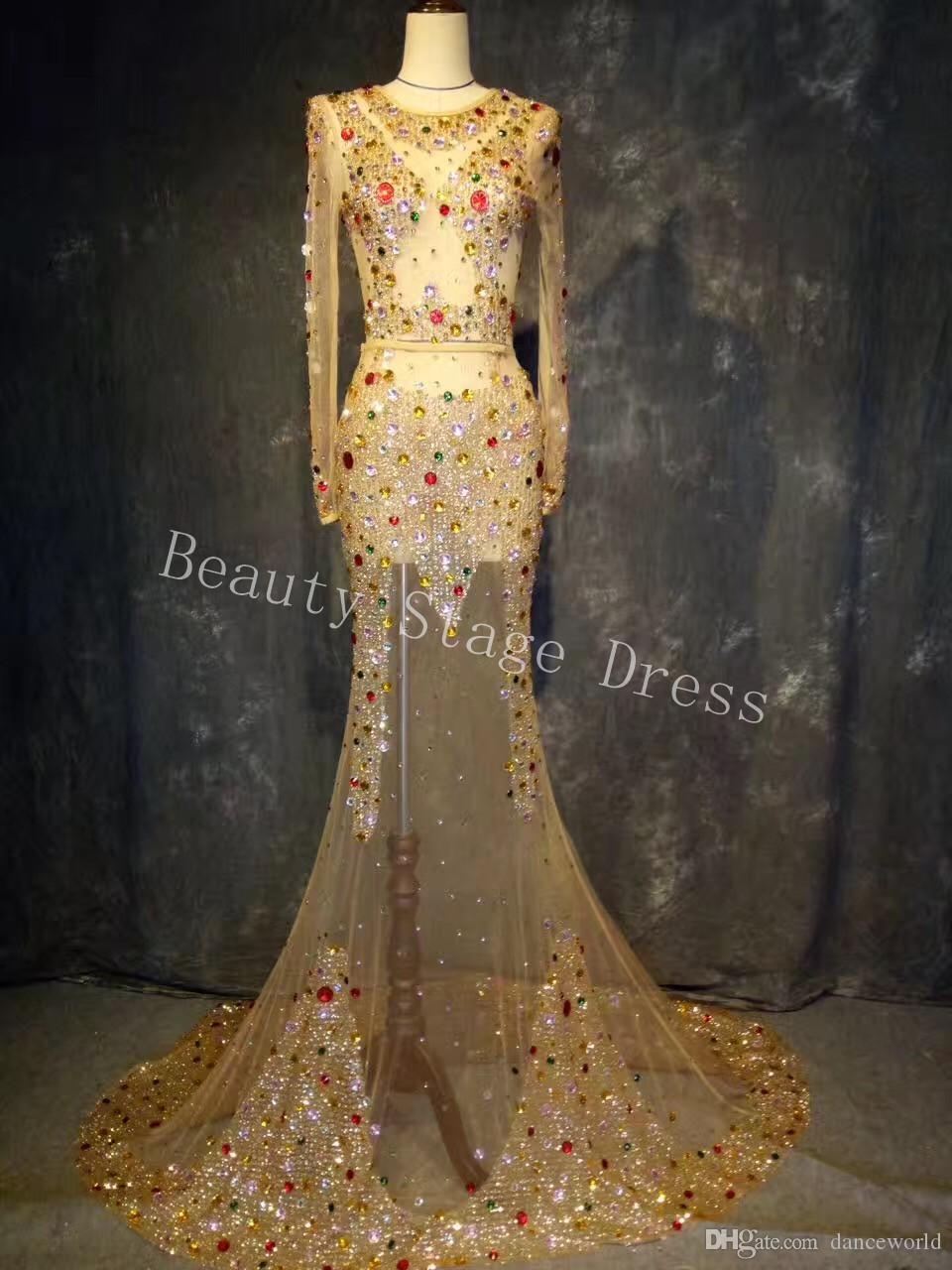 Çok renkli Kristaller Bakış Açısı Uzun Tren Elbise Süper lüks Büyük Kuyruk Elbise Akşam Kostüm Düğün Balo Elbise Kutlamak