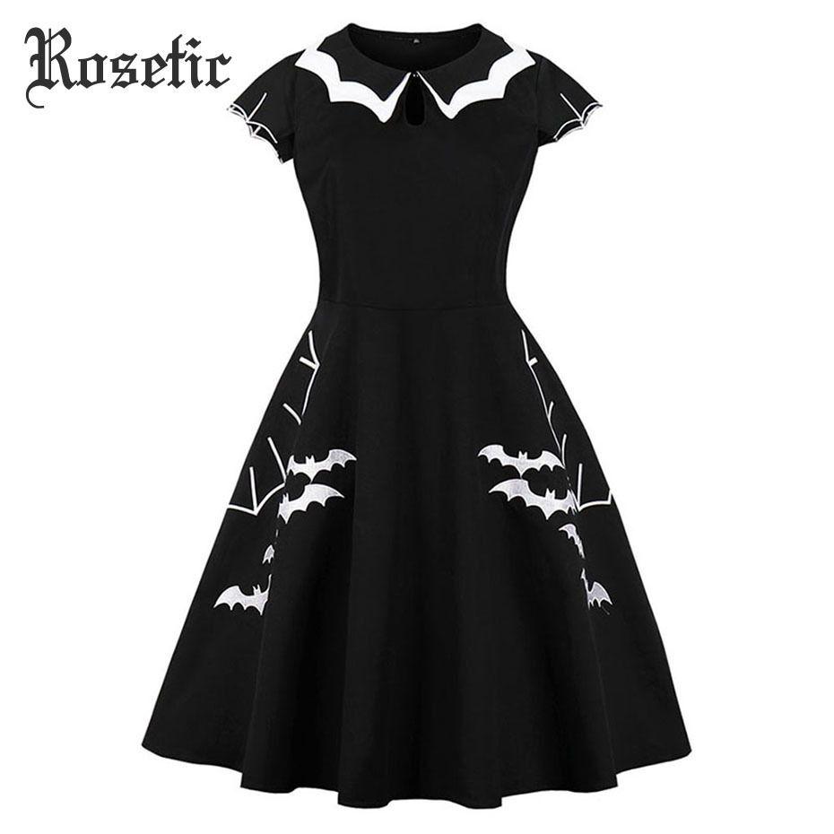 Rosetic Gothic Summer Dress Women Vestido Black Bat Embroidery Hollow-out Color Block Peter Pan Collar Retro Halloween Dresses Y19012201