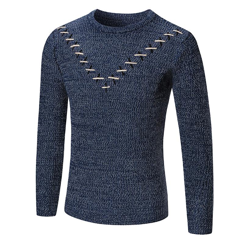 2018 modelos de outono e inverno novas camisolas dos homens rodada blusas pescoço pullover puro cor casuais homens quentes das