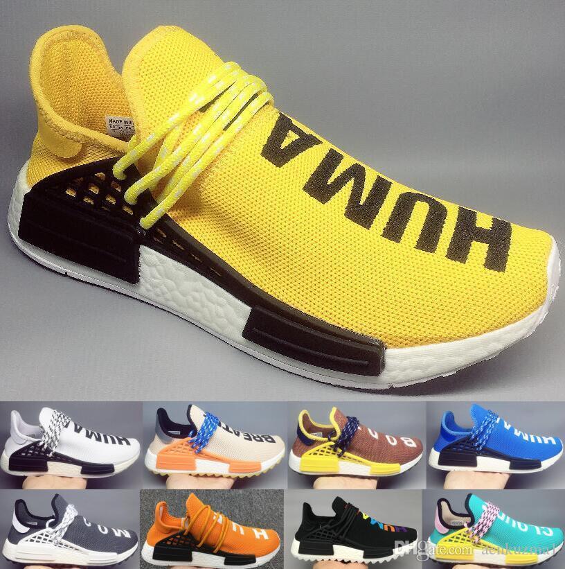 2019 New human race hu Pharrell Williams men women casual shoes NERD Black Blank Canvas Homecoming Solar Pack Mother mens trainer sneaker