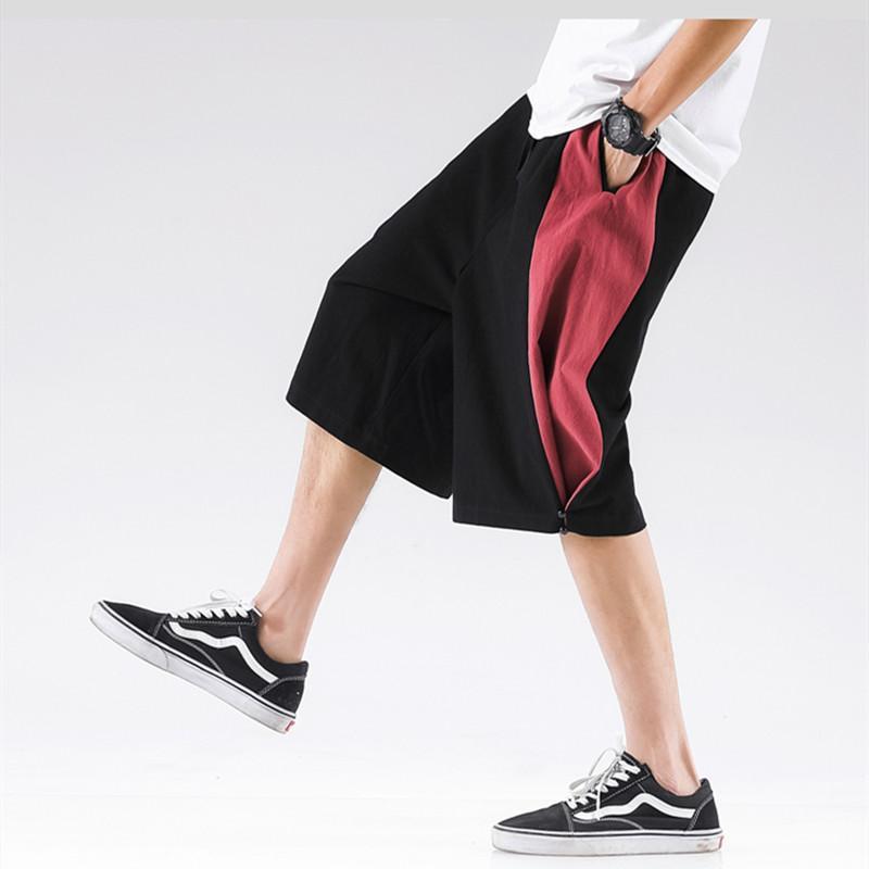 2020 neue Art und Weise Patchwork-Baumwollleinenhosen, plus Größe M-8XL Colorblock wadenlange breites Bein Hosen, Street Cargo-Hose