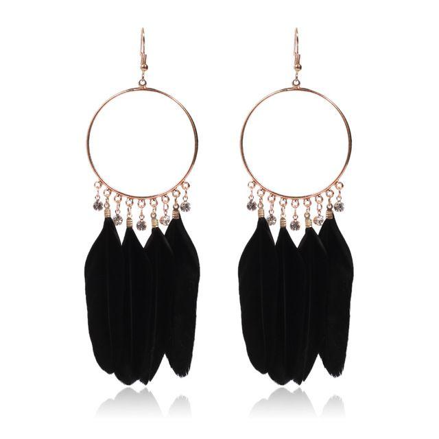 Böhmen elegante Feder-Ohrringe für Frauen Trendy runden Edelstahl-Korn-Tropfen-Ohrring-Anhänger Schmuck Großhandel