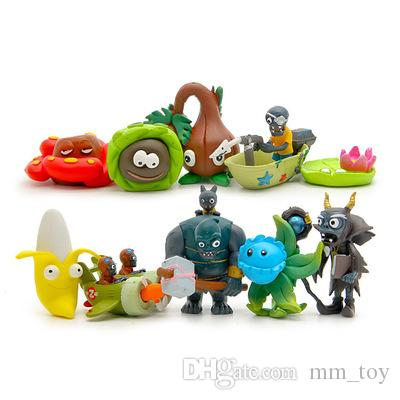 Plants vs Zombies Banana Wizard Aircraft Dolls 2-7cm PVC Cute Collection Figures Toys Gifts Plant + Zombies Model