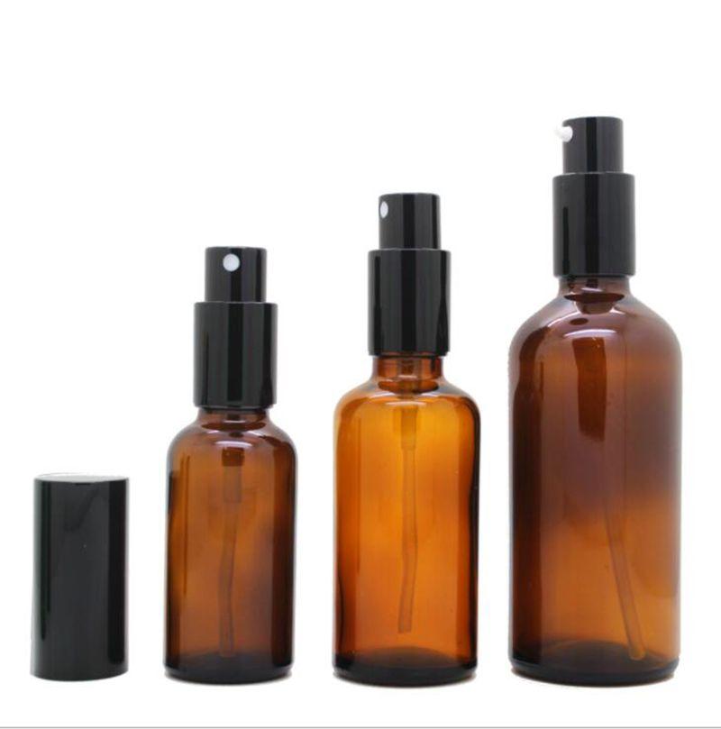 Wholesale USA Amber Glass Perfume Bottles 30ml 50ml 100ml Empty Atomizer Makeup Spray Bottle With Black Cap