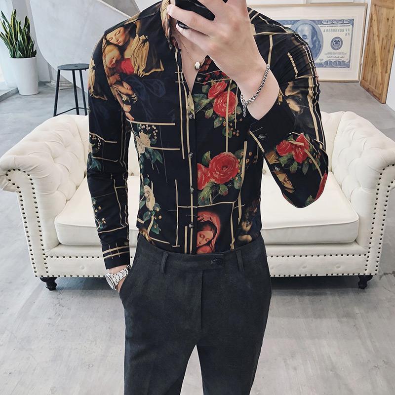 Camisa social de manga larga con estampado de moda masculina Flor de fiesta Camisa de hombre Estilo británico Blusa informal Hombres Slim Fit
