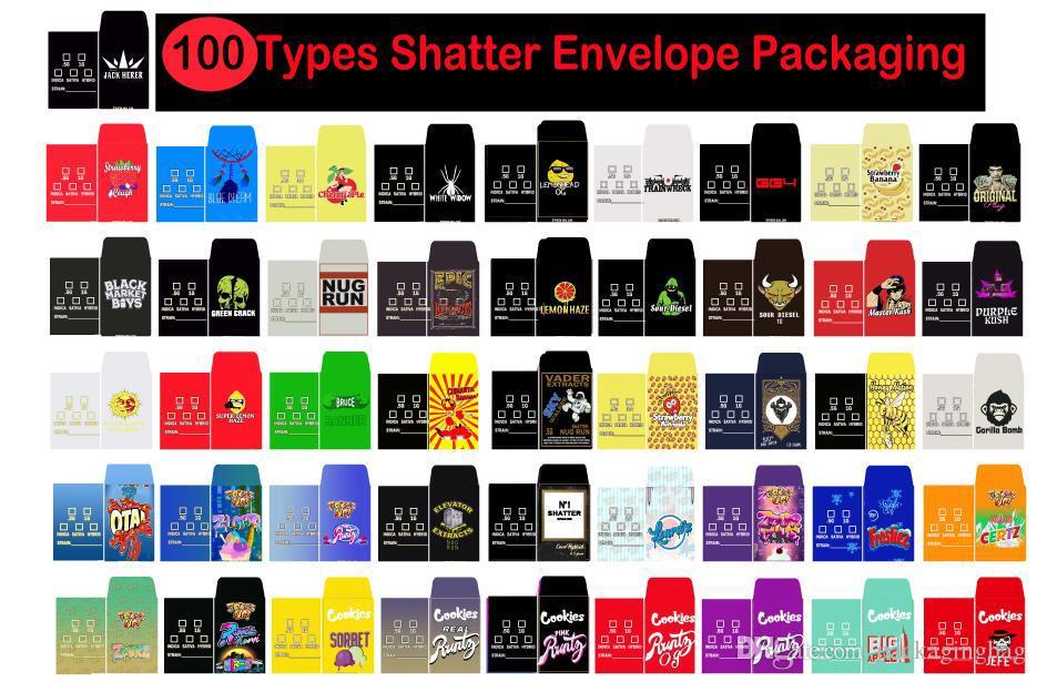 100 tipos que despedação embalagem do envelope de papel Assorted Strain Slim Shatter Packs Cera Concentrado Empacotamento Cartão SD Packs personalizados