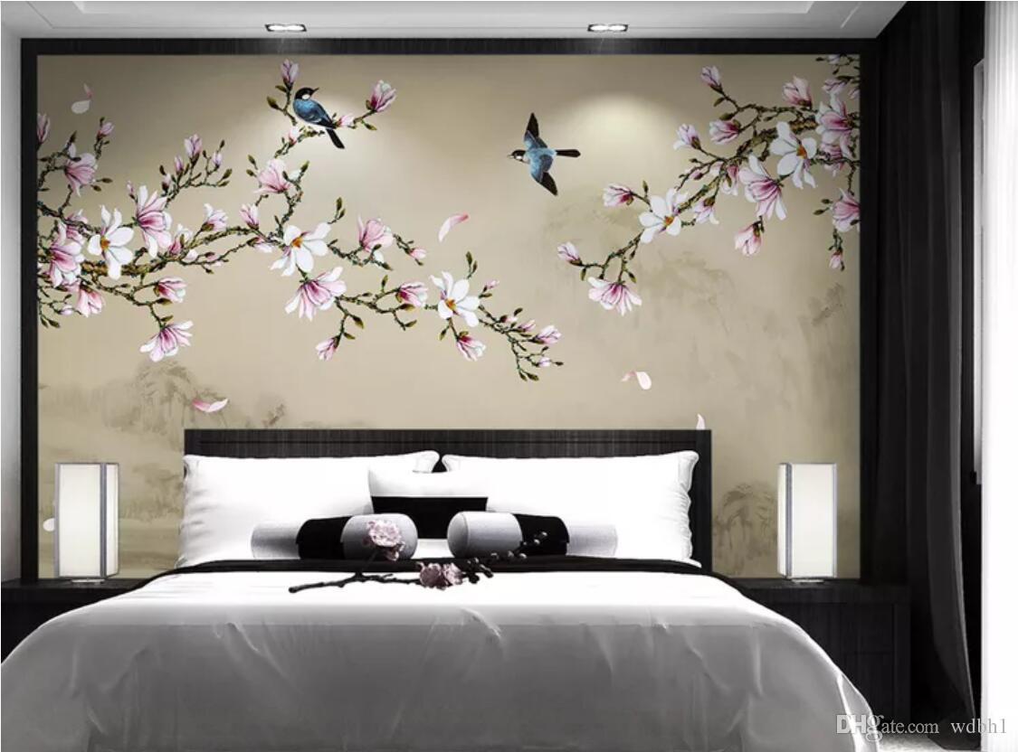 Papel tapiz 3D de la habitación Foto personalizada mural no tejido Magnolia pluma pintada a mano y fondo de flores decorativos de pared papel tapiz para paredes 3 d