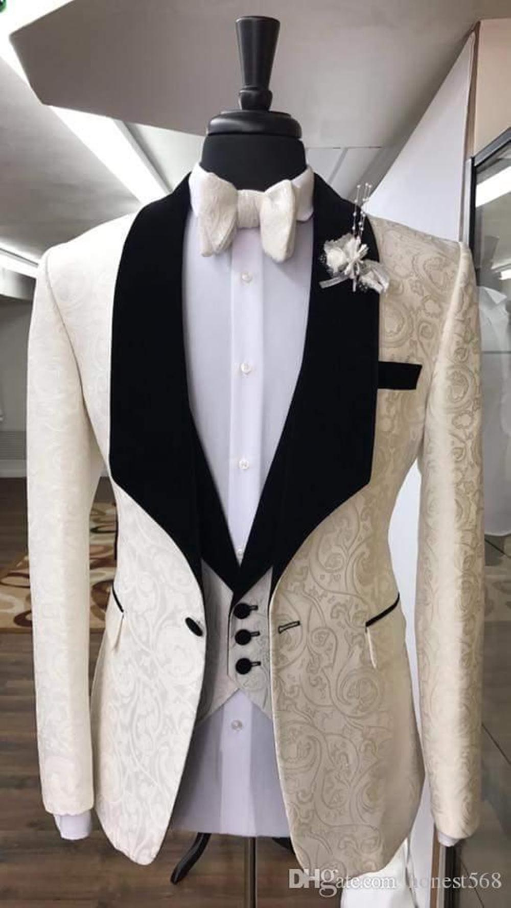 Bonito One Button Groomsmen xaile lapela noivo smoking Homens ternos de casamento / Prom / Jantar melhor homem Blazer (jaqueta + calça + gravata + Vest) A269