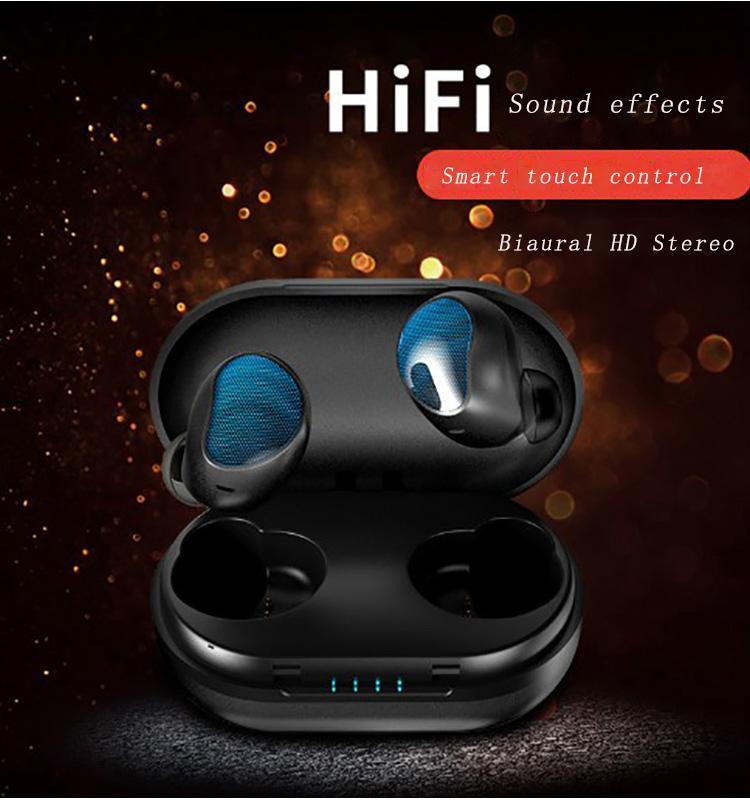 Biaural 스마트 블루투스 5.0 이어폰베이스 스테레오 노이즈 제거 방수 터치 컨트롤 자동 페어 HD는 박스 충전과 시리 음성 전화