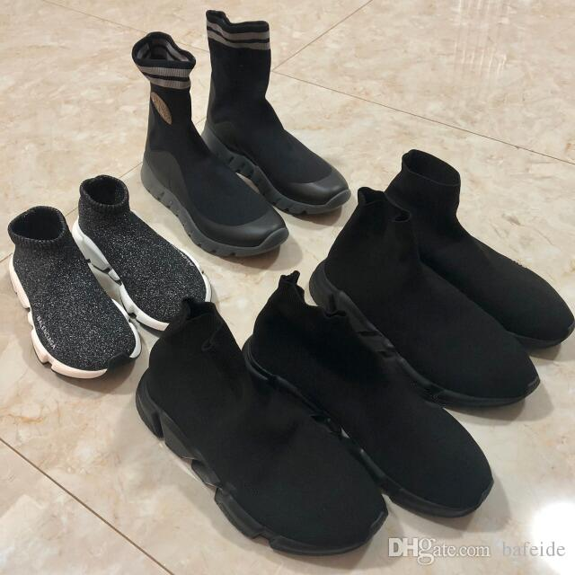 2019 Top Quality Knit Socks shoes mens womens sneakers speed trainer High Race Runners Black white Slip-on triple s Casual Shoes