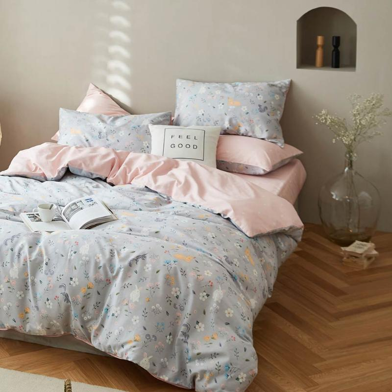 Papa&Mima Cotton Bedding Sets Print Linens (flat Sheet Pillowcase Duvet Cover)
