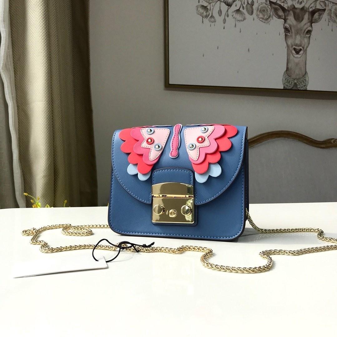 las mujeres de cuero de diseño de moda bolsas de hombro genuino de la marca bolsos crossbody bolsos de cadena de plata de la mariposa 3D de la cubierta del tirón bolsas de mensajería