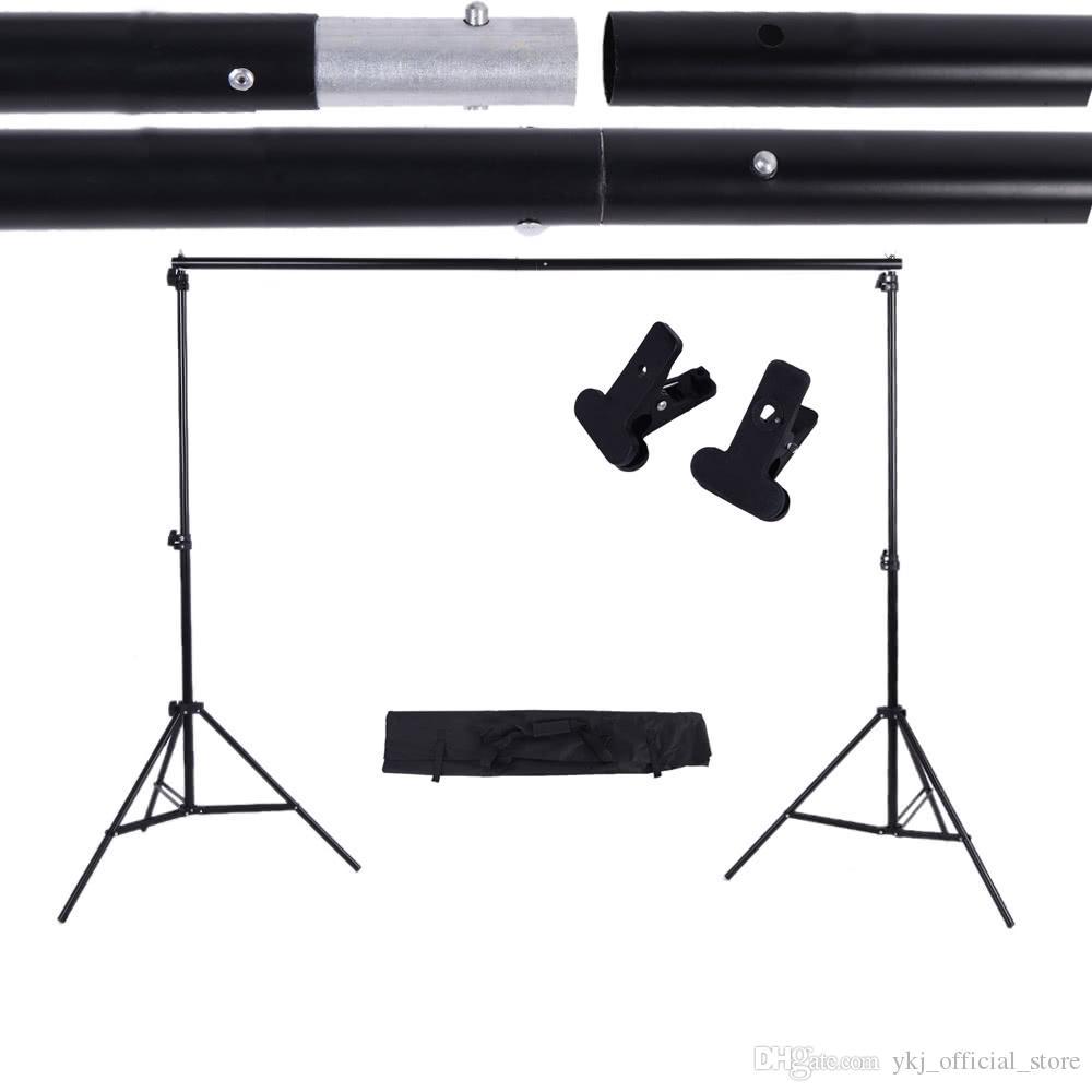 Fotografía 2X3M Antecedentes ayuda del soporte Travesaño Kit Sistema de Estudio muselina Telón de fondo de papel de la lona con abrazaderas bolsa de transporte