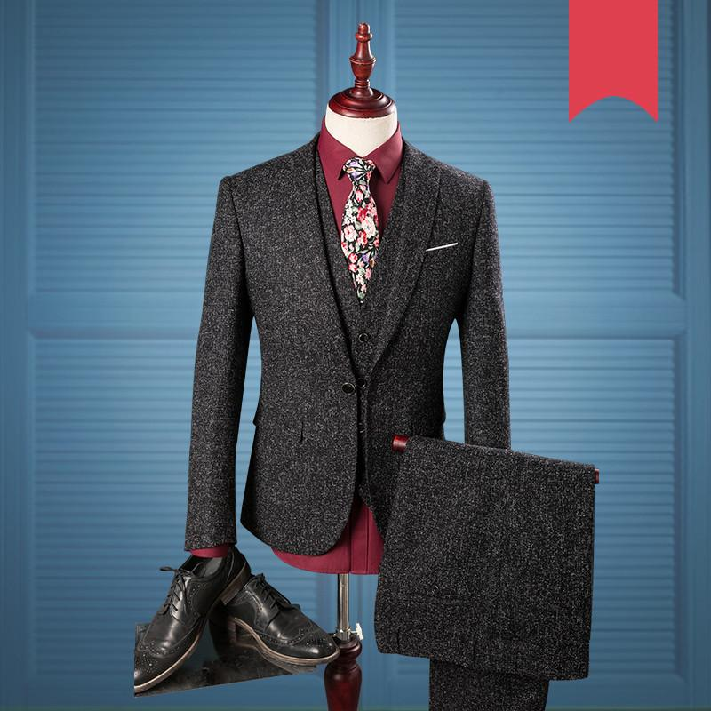 England Gentleman 3 Pieces Suit 2020 Suits For Men Black Checkered Tweed Tailored Wedding Mens Suit(Jacket Vest Pants) 975