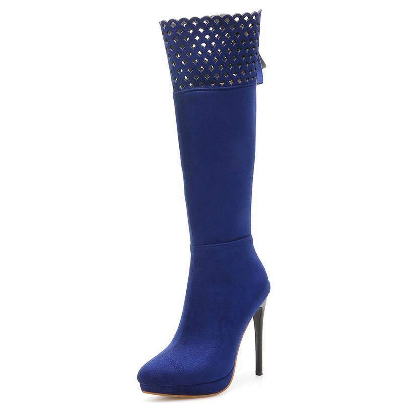 الركبة السامية بأمتصاص أحذية نسائية أحذية الكعوب المرأة آخر صيحات الموضة الخريف حزب الشتاء أحذية أسود أزرق أحمر