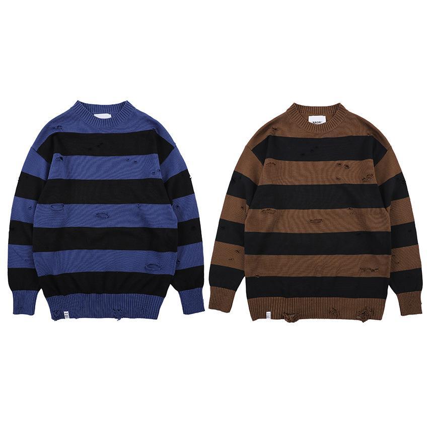 Hommes Pull en tricot couleur assortis Mode trou en vrac épais rayures Pull à manches longues Casual hiver Atutumn S-XL