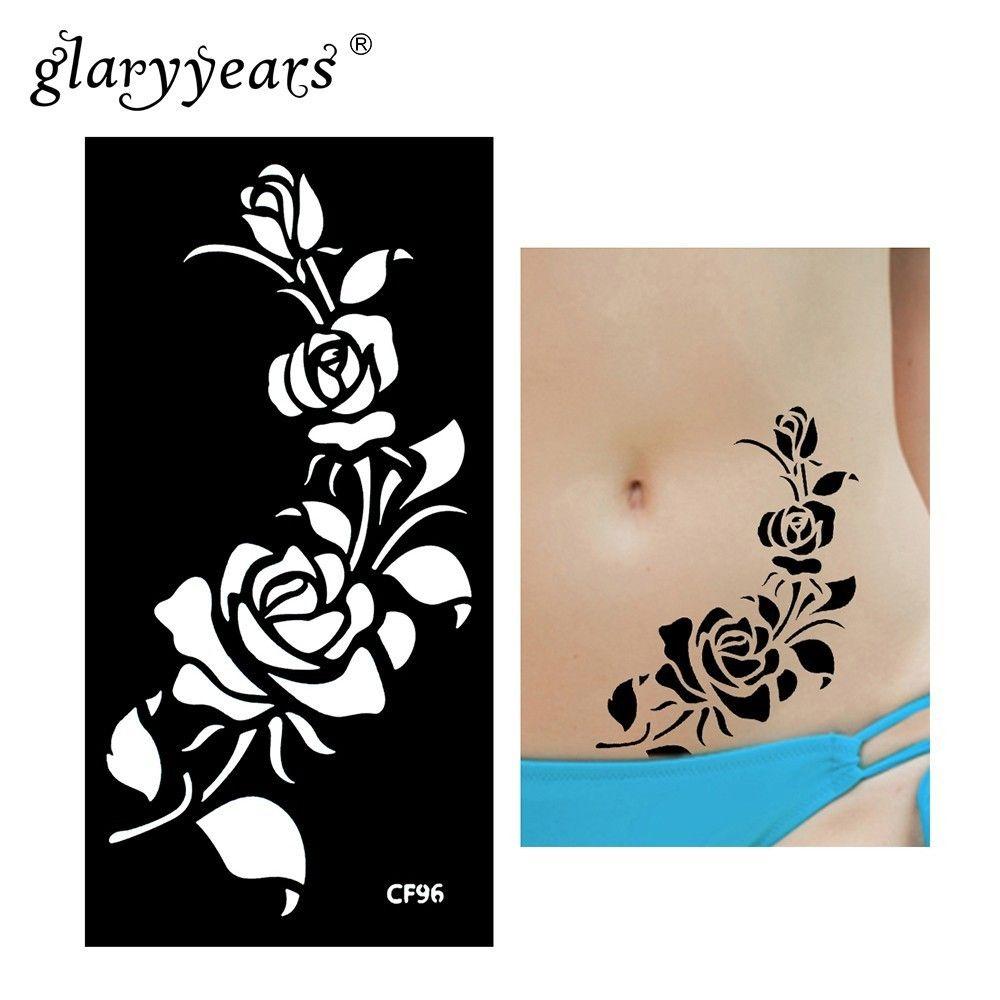 Stencils glaryyears 1 Sheet Henna Tattoo Stencil Pattern Paste Drawing Female Body Art Tattoo Stencil Sexy Product Waterproof Hot HN-CF96
