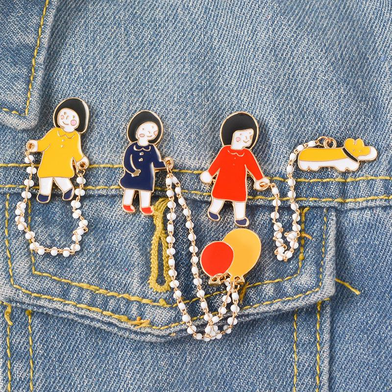 Cute Small Funny cute girl dog chain Enamel Brooches Pins For Women Christmas Demin Shirt Decor Fashion Jewelry Brooch Pin Metal Badge