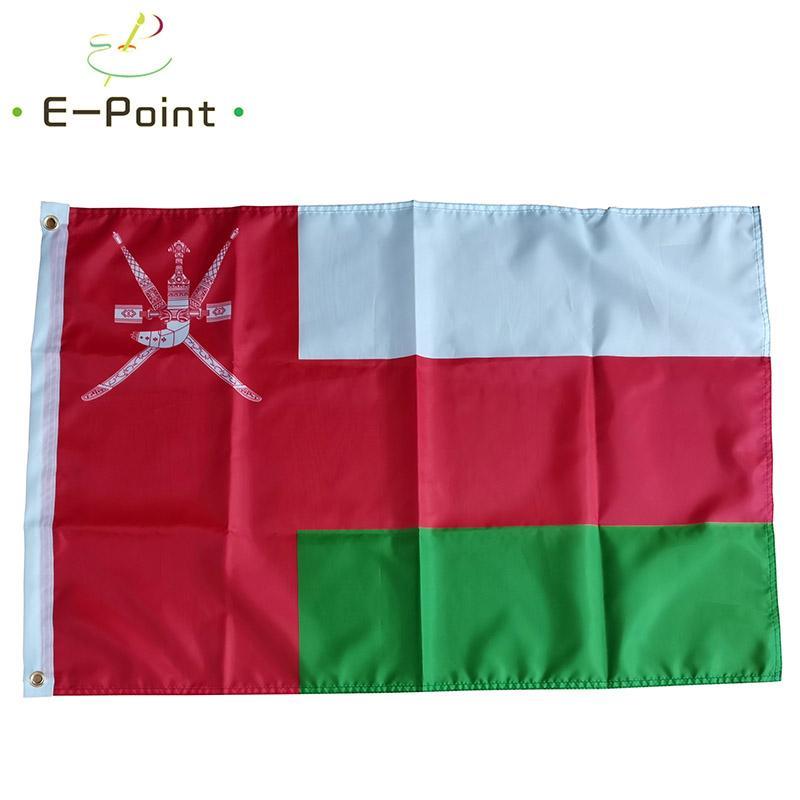 Oman Bandiera nazionale Sultanato 3 * 5ft (90cm * 150cm) Poliestere Banner decorazioni battente la bandiera giardino di casa