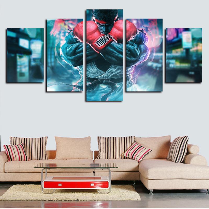 2020 5 Panels Street Fighter Painting Modern Artworks Giclee