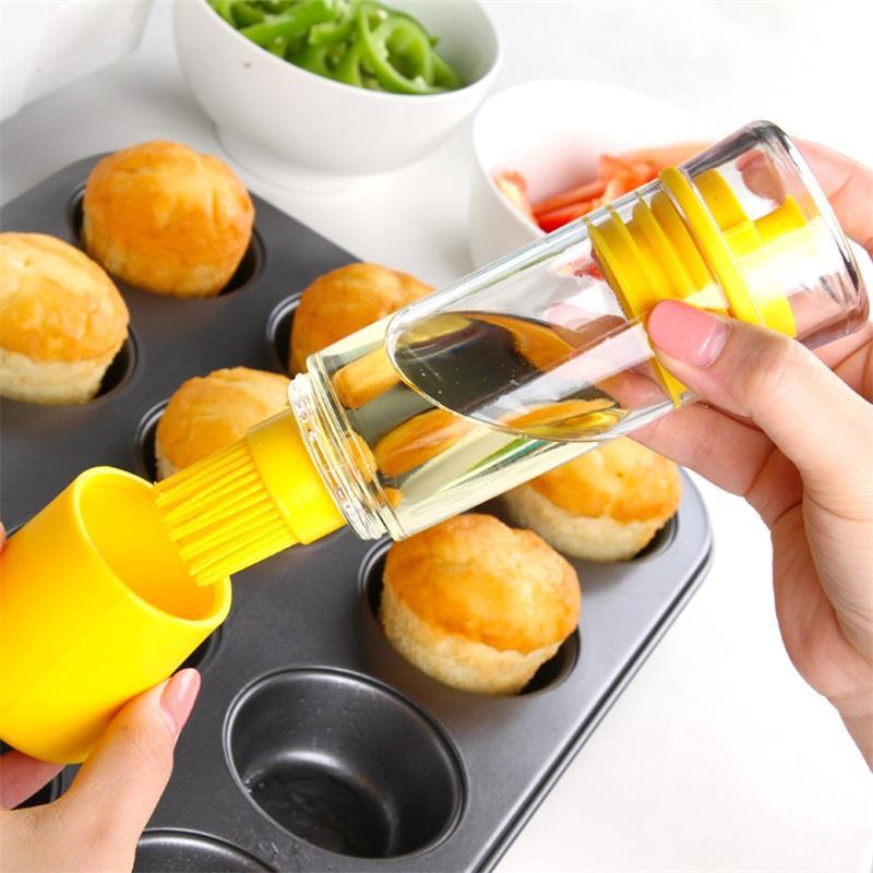2 côtés silicone bouteille d'huile avec la brosse pour gâteau au beurre pain pâtisserie cuisson Barbecue BBQ huile miel Pen Brosse Home Cooking outil