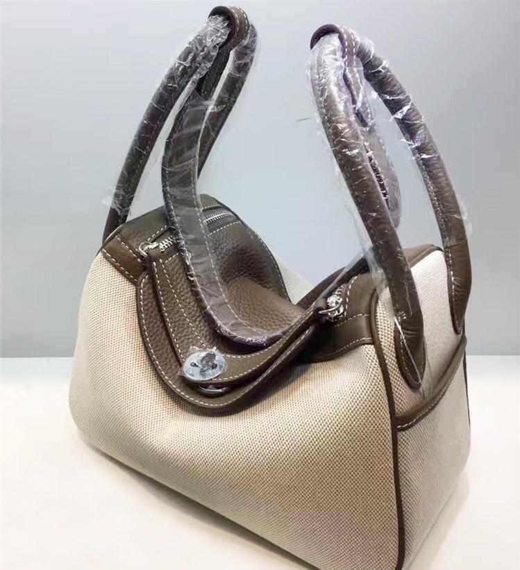 26CM 30cm Leinwand Echte Leder-Taschen Zwei-Ton-Mode-Frauen-Hand 2019 Schultertaschen Frauen Dame Fabrik Großhandel