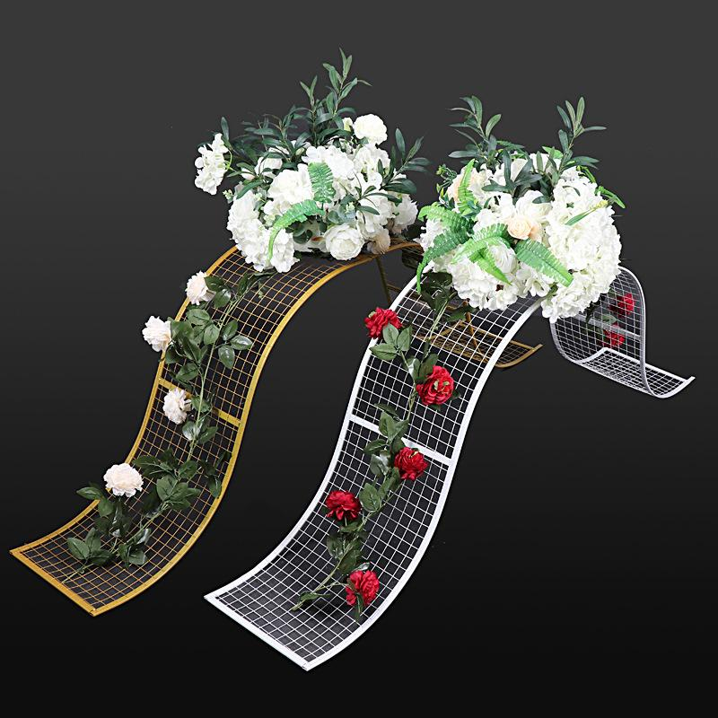 Wrought Iron Wedding Props Decorative Grid S-shaped Wave Road Lead background frame Geometric Party T Set Layout Decoration
