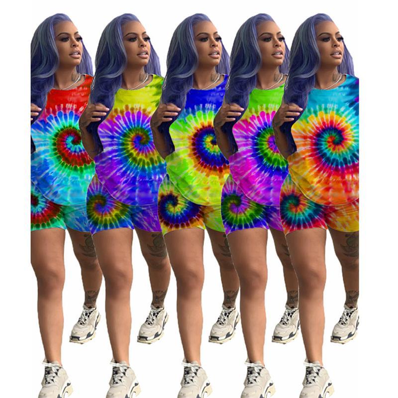 المرأة زائد الحجم رياضية طباعة صبغ التعادل تي شيرت السراويل الرياضة البدلة العصرية قميص بانت 2 قطعة ملابس رياضية ملابس الصيف تتسابق LJJA2502-10