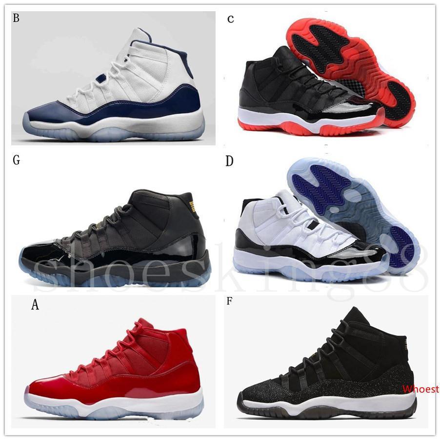 İle Yüksek Kalite 11 11'leri Space Jam Bred Concord Basketbol ayakkabı erkekler Kadınlar 11'ler Gym Kırmızı Gece Lacivert Gama Mavi 72-10