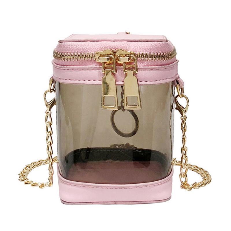 Portafoglio trasparente in pvc con monospalla Portafoglio trasparente in plastica con borsa a catena per donna ragazza Y19062401