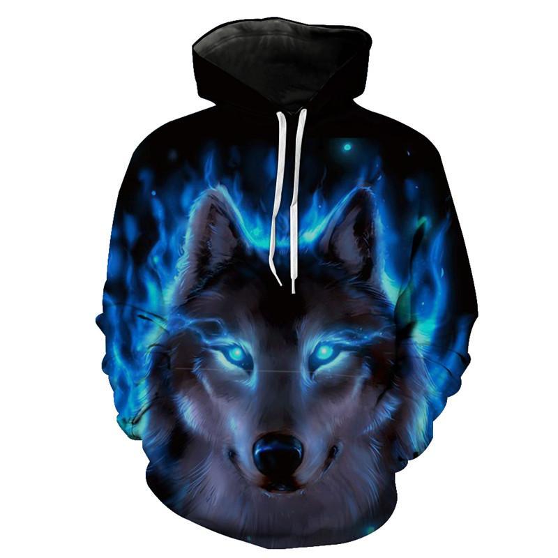 Moda Kurt Hoodie Mavi Alev Kurt Baskı 3D Kazak
