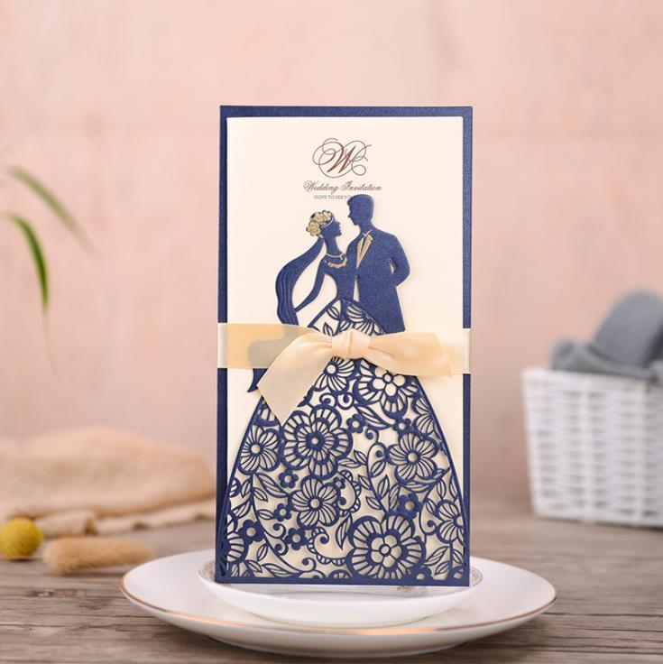 2020 뜨거운 해군 청첩장 카드 레이저 컷 신부와 신랑 결혼 파티 초대장 봉투