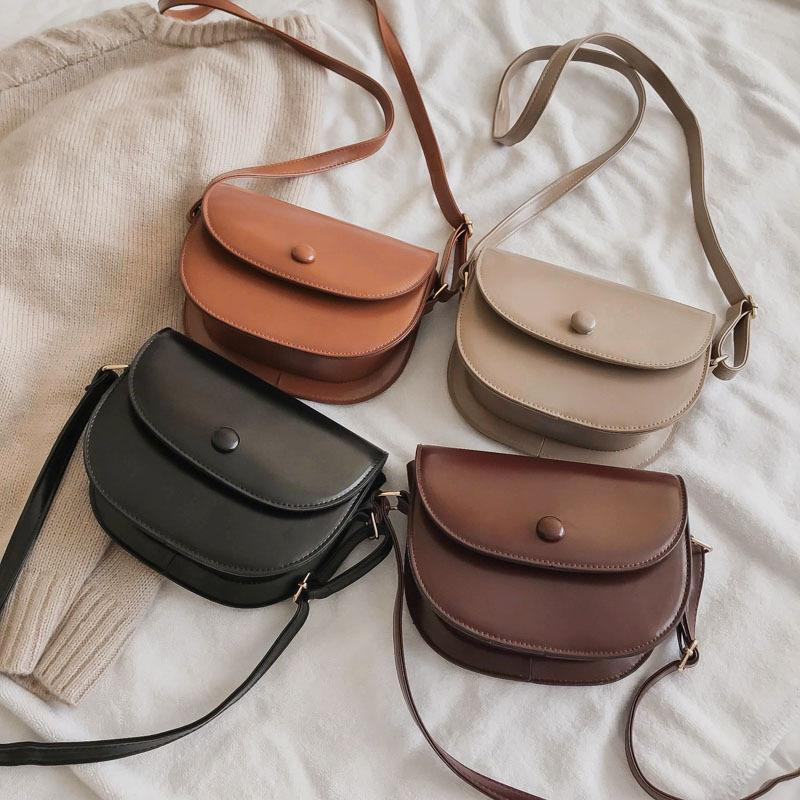 Retro Small Bag Women's 2020 Spring New Style Korean-style Versatile Saddle Bag Textured Solid Color Crossbody