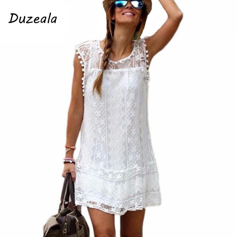 Duzeala Sıcak yaz plaj elbise Seksi Kadınlar Casual Kolsuz Plaj Kısa Elbise Püskül Katı Beyaz Mini Dantel Giydirme Plus Size MX200508