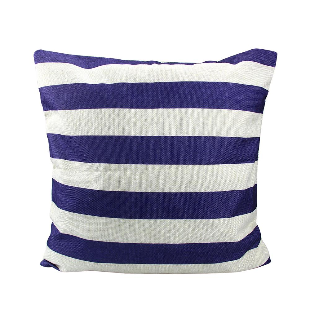 Декоративная наволочка с квадратной декоративной наволочкой Темно-синяя полосатая наволочка с скрытой застежкой-молнией 18 X 18 Inc