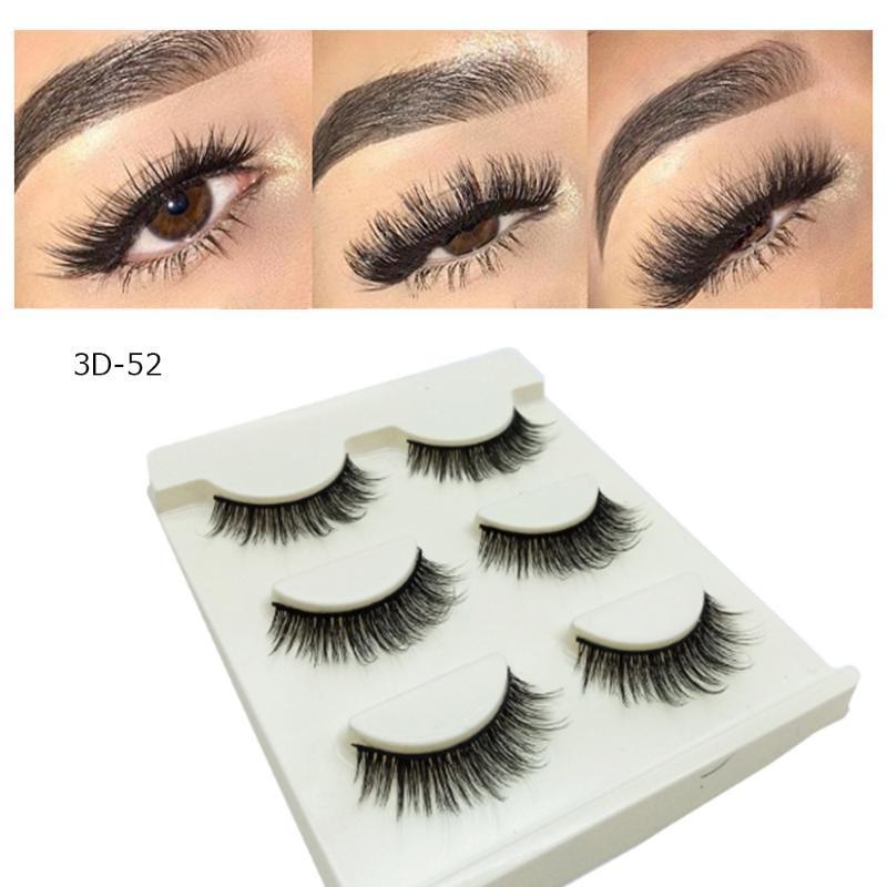 3 пары / комплект мягкие Накладные ресницы макияж натуральный Cruling накладные ресницы 3D ручной работы волосы толстые ресницы женский макияж
