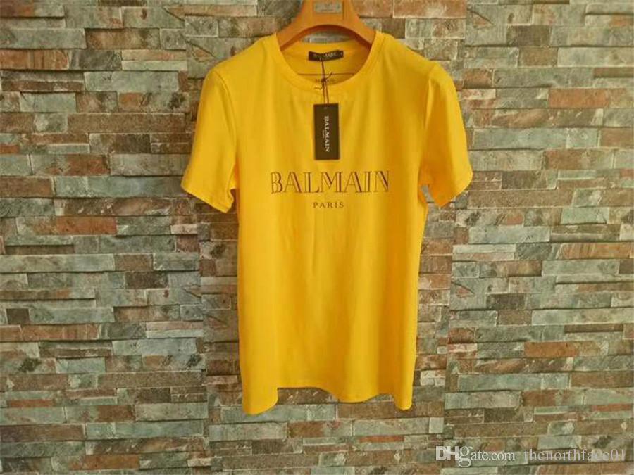 Balmain hombre del diseñador T Shirts Negro del verde amarillo de diseño camisas Balmain Hombres Mujeres camiseta de manga corta S-XXL