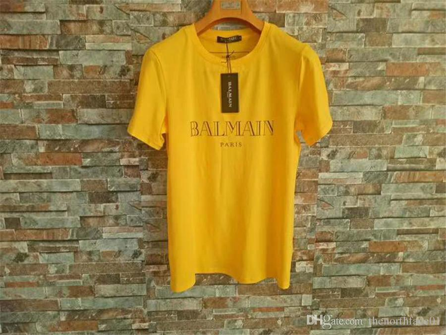 Balmain Mens Stylist camisetas Verde Amarelo Preto do estilista camisas Balmain Homens Mulheres camiseta de manga curta S-XXL