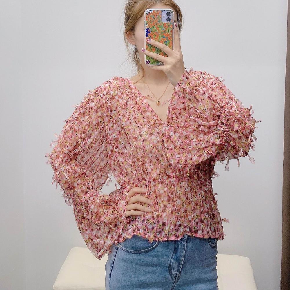 Femme élégante Chemisier été 2020 nouvelle mode Imprimés Floraux Plein manches en mousseline de soie moderne Lady T-shirt