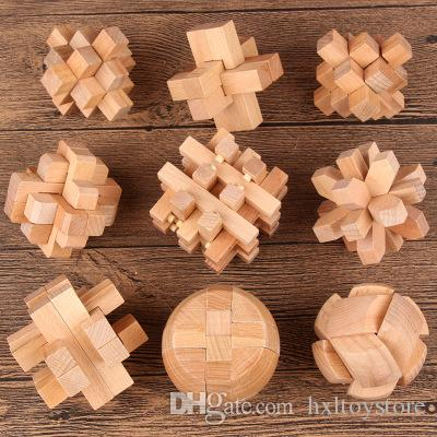 Wholesale-Puzzles Games Wooden Chinese Traditional Educational Toys for Adult Children Intelligence Education Puzzle Lock Kids Funny Toys