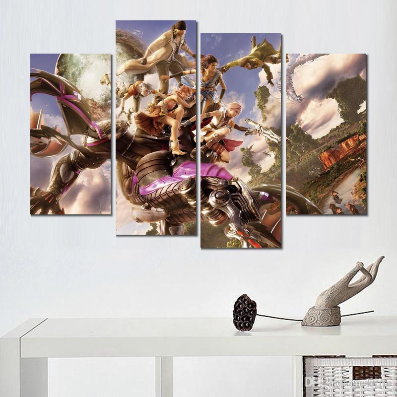 4 ensembles moderne décor imprimé final fantasy jeu toile peinture mur photos pour salon