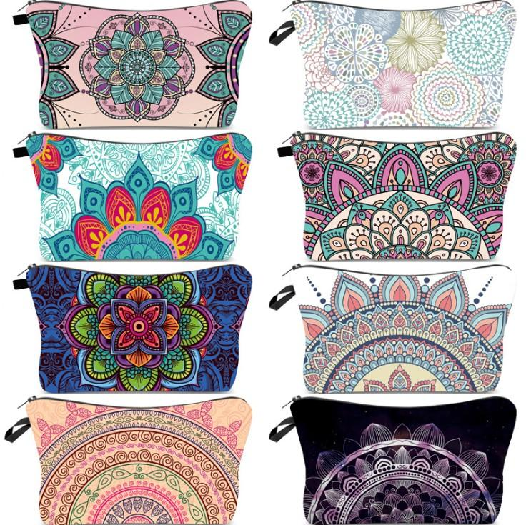 회화 지갑 여성 화장품 가방 세면 용품 파우치 만다라 꽃 패턴 많은 스타일 방수 화장품 가방