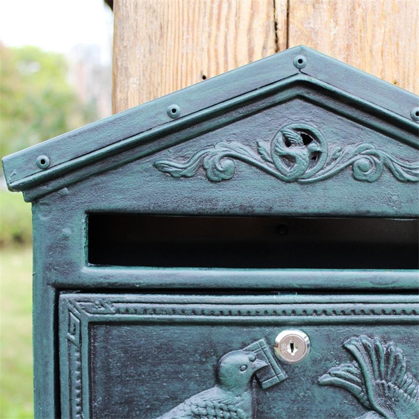 2019032702 Decoración exterior buzón seguro de Hierro Arte bloqueable Buzón Buzón retro retro pared Periódico Carta Post Box