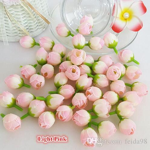 Главы 2 см Искусственные мини Камелия Цветы Silk Tea Rose Bud для DIY Венок цветок запястье платье волос Свадебные украшения 1000pcs / серия GB222