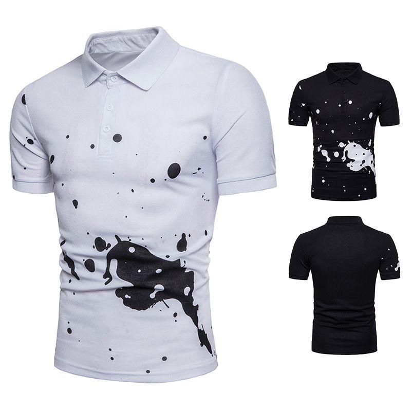 SWAGWHAT новый летний рубашка мода печати случайные рубашки с отложным воротником тонкий подходят рубашки мужчины Марка топы