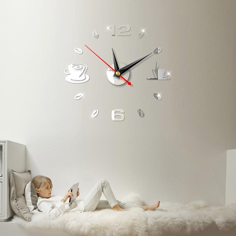 Moderne Grand Art Surface Miroir bricolage 3D Horloge murale Sticker Intérieur Chambre Décor