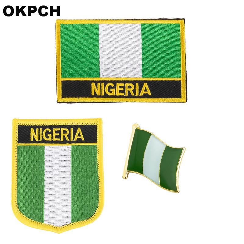 Нигерия флаг патч значок 3шт. Набор патчей для одежды DIY украшения PT0143-3