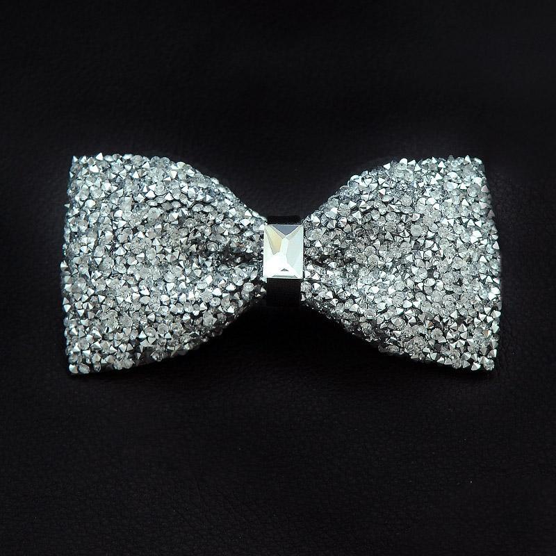 Fiesta de la boda del lazo arco de la manera 2020 para hombre Rhinestones pajaritas brillante diamante corbata de oro de la plata de los hombres de la mariposa Pajaritas A62